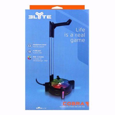 T'nB COBRA Hub - Headphone stand - 4 USB hub - RGB