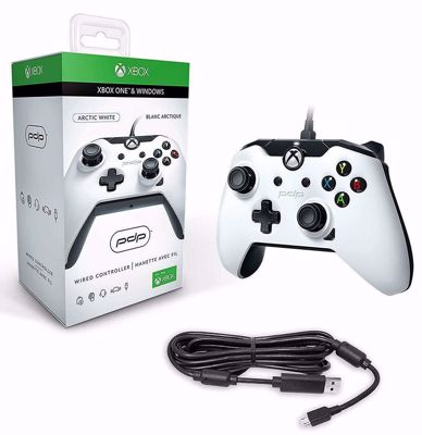 PDP Wired Controller with Cable for PC and Xbox One White