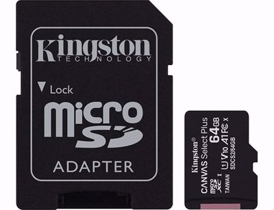 Kingston 64gb Micro SD with Adapter Canvas Select Plus (100mb/s)