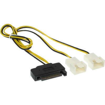 INLINE Y-cable - Fan power adapter - 4 pin PWM (M) to SATA power (F) - 30 cm