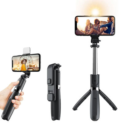 L02S Telescopic Bluetooth Selfie Stick - Tripod Stand with LED Light
